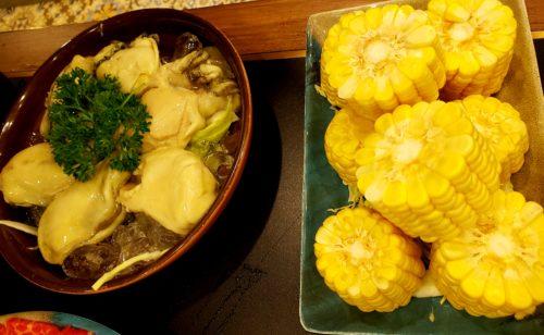 トウモロコシと生牡蠣